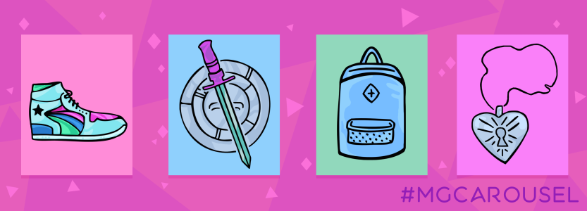Bookmark for March 2019 features cartoon-style illustrations of a sporty sneaker, a sword and garbage lid shield, a backpack, and a locket etched with a keyhole design.