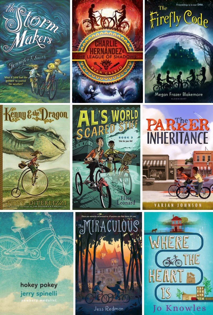 Book covers for The Storm Makers, Charlie Hernandez and the League of Shadows, The Firefly Code, Kenny & the Dragon, Al's World: Scared Stiff, The Parker Inheritance, Hokey Pokey, The Miraculous, and Where the Heart Is