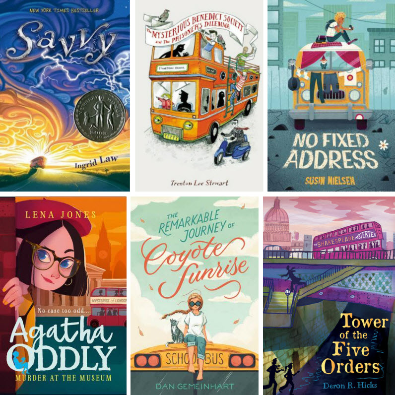 Book covers for Savvy, The Mysterious Benedict Society and the Prisoner's Dilemma, No Fixed Address, Murder at the Museum, The Remarkable Journey of Coyote Sunrise, and Tower of the Five Orders