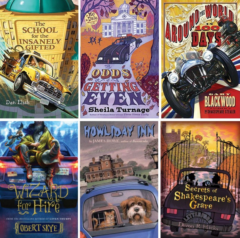 Book covers of The School for the Insanely Gifted, The Odds of Getting Even, Around the World in 100 Days, Wizard for Hire, Howliday Inn, and Secrets of Shakespeare's Grave