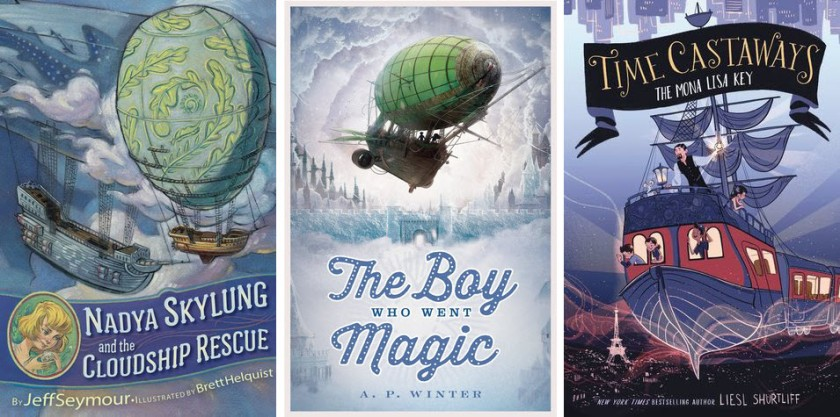Book covers for Nadya Skylung and the Cloudship Rescue, The Boy Who Went Magic, and Time Castaways: The Mona Lisa Key