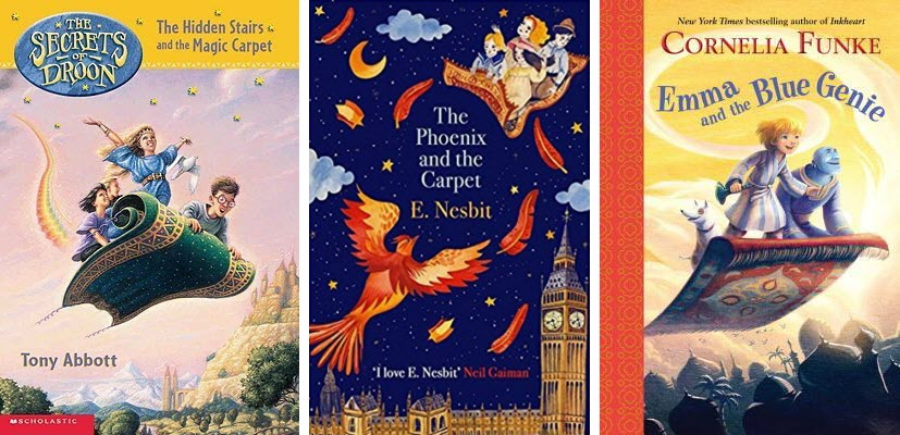 Book covers for The Secrets of Droon: The Hidden Stairs and the Magic Carpet, The Phoenix and the Carpet, and Emma and the Blue Genie