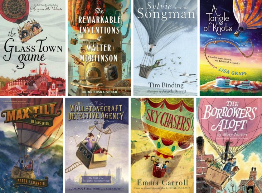 Book covers for The Glass Town Game, The Remarkable Inventions of Walter Mortinson, Slyvie and the Songman, A Tangle of Knots, Max Tilt: 80 Days or Die, The Wollstonecraft Detective Agency, Sky Chasers, and The Borrowers Aloft