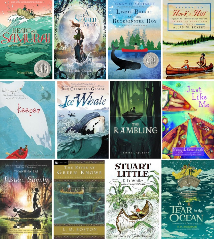 Book covers for Heart of a Samurai; A Nearer Moon; Lizzie Bright and the Buckminster Boy; Return to Hawk's Hill; Keeper; Ice Whale; The Rambling; Just Like Me; Listen, Slowly; The River at Green Knowe; Stuart Little; and A Tear in the Ocean
