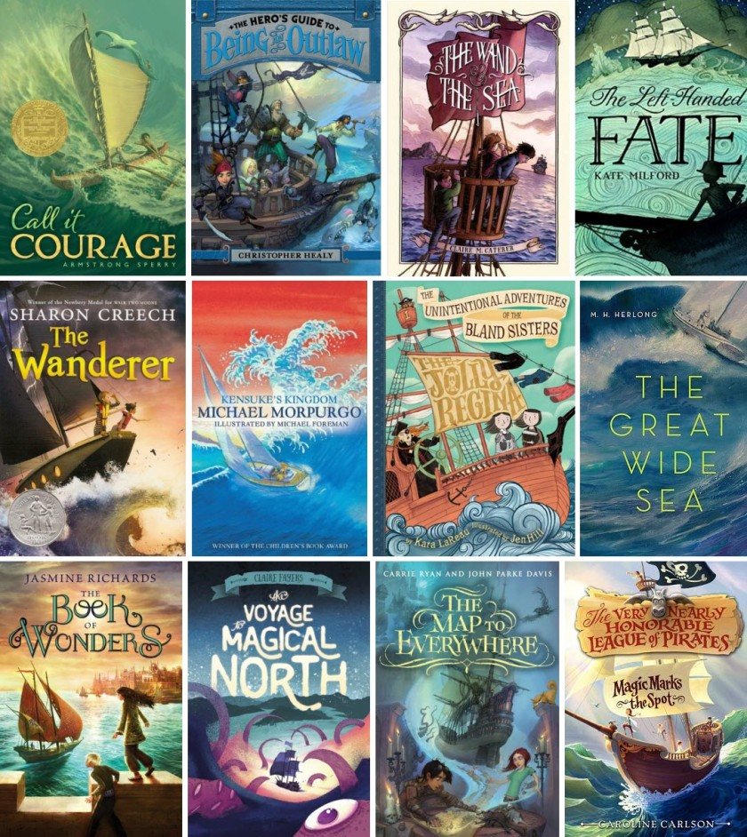 Book covers for Call it Courage, The Hero's Guide to Being an Outlaw, The Wand and the Sea, The Left-Handed Fate, The Wanderer, Kensuke's Kingdom, The Jolly Regina, The Great Wide Sea, The Book of Wonders, The Voyage to Magical North, The Map to Everywhere, and Magic Marks the Spot
