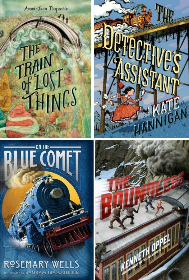 Book covers for The Train of Lost Things, The Detective's Assistant, On the Blue Comet, and The Boundless