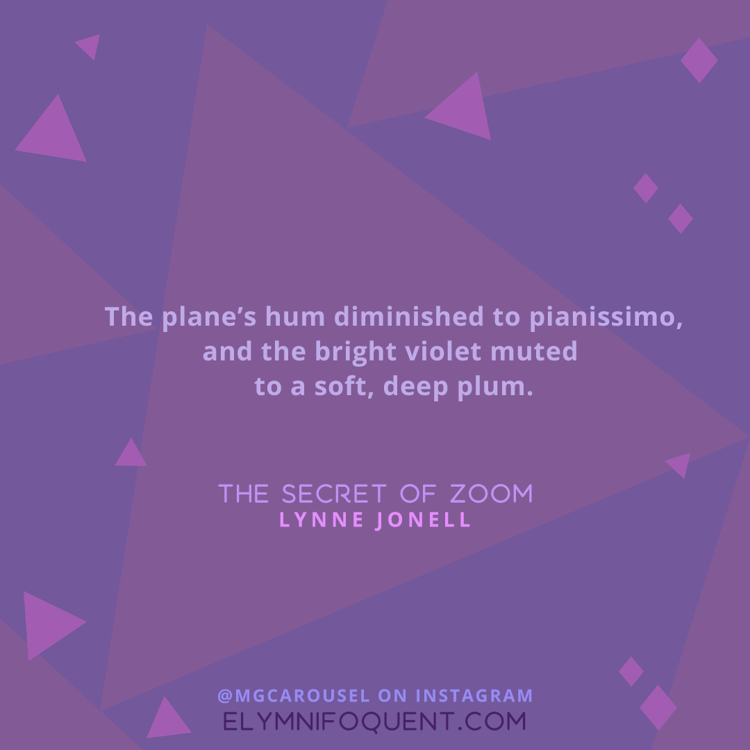 """""""The plane's hum diminished to pianissimo, and the bright violet muted to a soft, deep plum."""" —The Secret of Zoom by Lynne Jonell"""