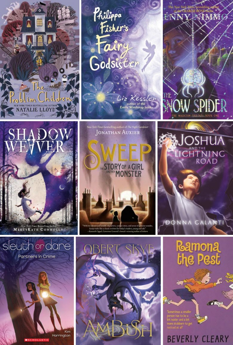 Book covers for The Problim Children by Natalie Lloyd, Philippa Fisher's Fairy Godsister by Liz Kessler, The Snow Spider by Jenny Nimmo, Shadow Weaver by MarcyKate Connolly, Sweep: The Story of a Girl and Her Monster by Jonathan Auxier, Joshua and the Lightening Road by Donna Galanti, Sleuth or Dare: Partners in Crime by Kim Harrington, Ambush by Obert Skye, and Ramona the Pest by Beverly Cleary