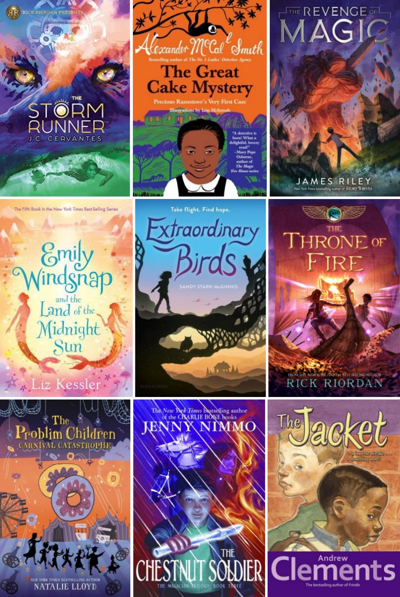 Book covers for The Storm Runner by J.C. Cervantes, The Great Cake Mystery by Alexander McCall Smith, The Revenge of Magic by James Riley, Emily Windsnap and the Land of the Midnight Sun by Liz Kessler, Extrodinary Birds by Sandy Stark-McGinnis, The Throne of Fire by Rick Riordan, Carnival Catastrophe by Natalie Lloyd, The Chestnut Soldier by Jenny Nimmo, and The Jacket by Andrew Clements
