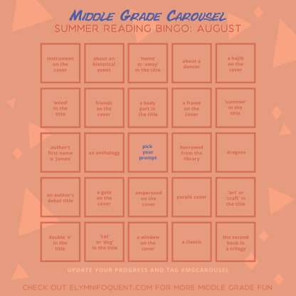 Summer Reading Bingo board for August