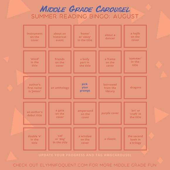 Summer Reading Bingo board for August