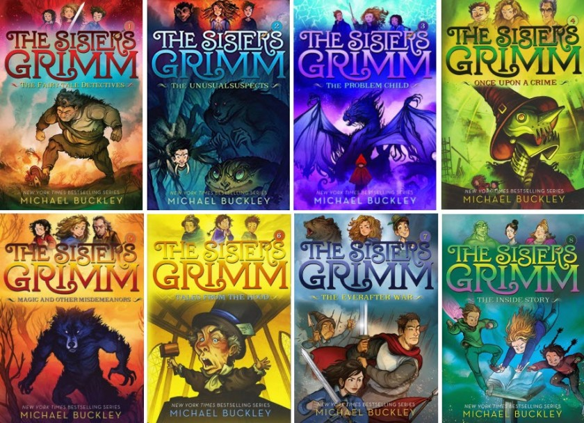 Book covers of The Sisters Grimm series, books 1-8