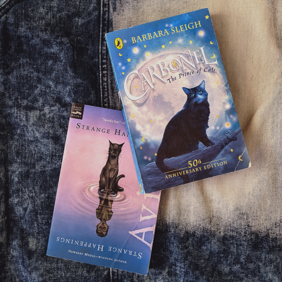 Bookstagram photo featuring Carbonel: The Prince of Cats by Barbara Sleigh & Strange Happenings by Avi