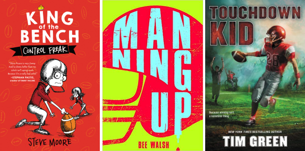 Book covers for Control Freak by Steve Moore; Manning Up by Bee Walsh; and Touchdown Kid by Tim Green