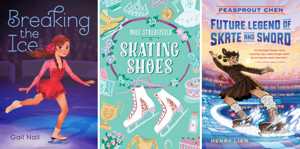 Book covers for Breaking the Ice by Gail Nall; Skating Shoes by Noel Streatfeild; and Peasprout Chen: Future Legend of Skate and Sword by Henry Lien