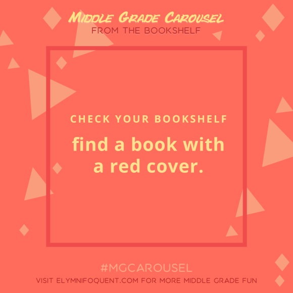 From the Bookshelf: find a book with a red cover.