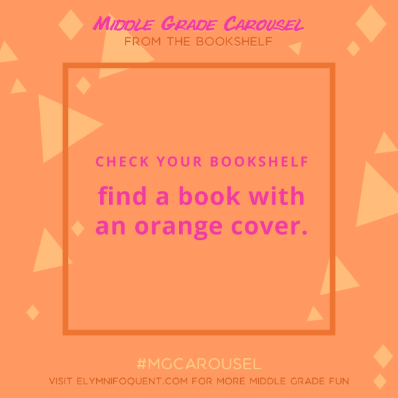 From the Bookshelf: find a book with an orange cover.