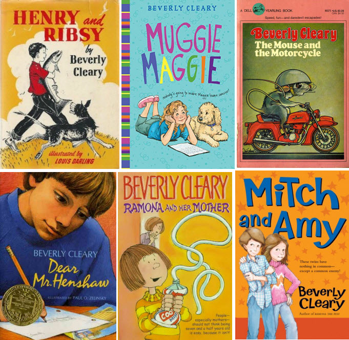 Book covers for Henry and Ribsy; Muggie Maggie; The Mouse and the Motorcycle; Dear Mr. Henshaw; Ramona and Her Mother; and Mitch & Amy by Beverly Cleary