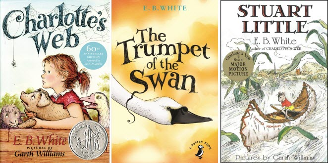 Book covers for Charlotte's Web; The Trumpet of the Swan; and Stuart Little by E.B. White