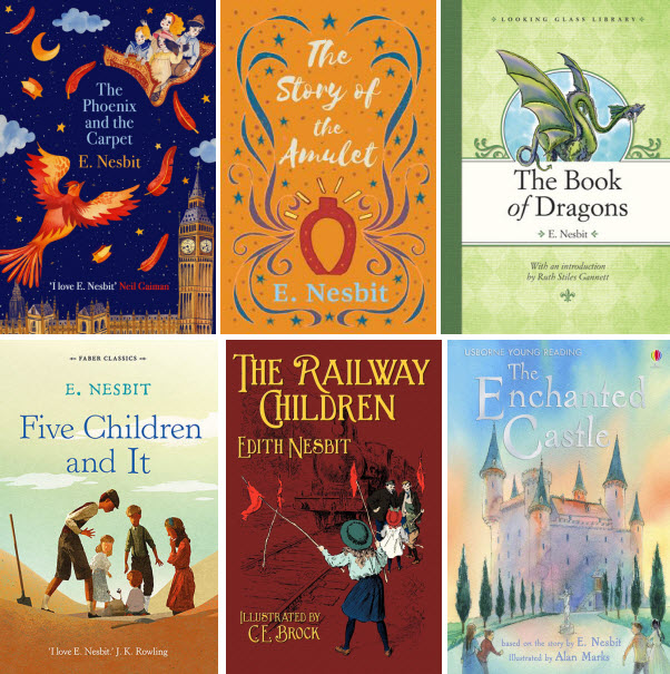 Book covers for The Phoenix and the Carpet; The Story of the Amulet; The Book of Dragons; Five Children and It; The Railway Children; and The Enchanted Castle by E. Nesbit