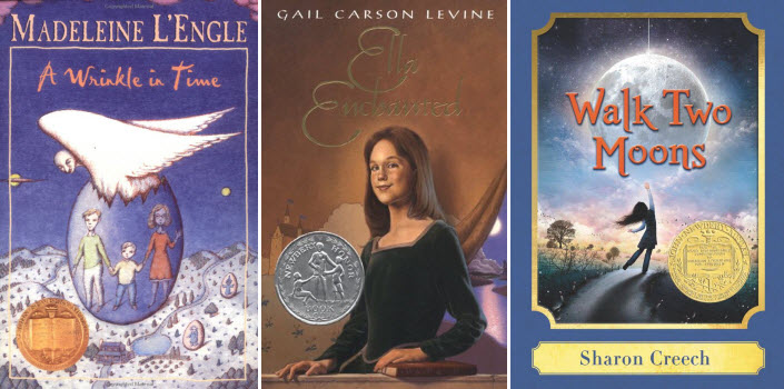 Book covers for A Wrinkle in Time by Madeleine L'Engle, Ella Enchanted by Gail Carson Levine, and Walk Two Moons by Sharon Creech