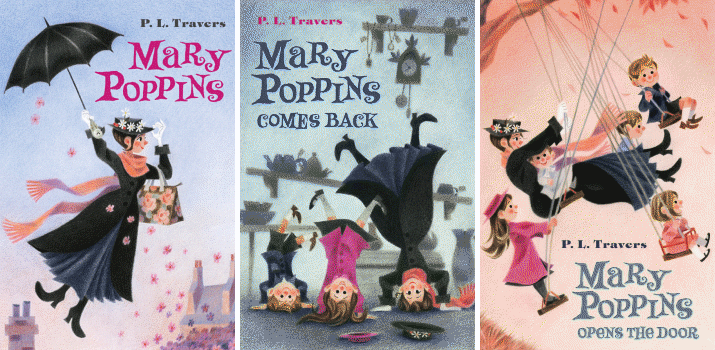 Book covers for Mary Poppins, Mary Poppins Comes Back, and Mary Poppins Opens the Door by P. L. Travers