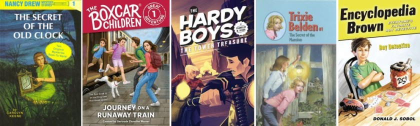 Book covers for Nancy Drew: The Secret of the Old Clock by Carolyn Keene; The Boxcar Children: Journey on a Runaway Train by Gertrude Chandler Warner; The Hard Boys: The Tower Treasure by Franklin W. Dixon; Trixie Belden: The Secret of the Mansion; and Encyclopedia Brown: Boy Detective by Donald J. Sobol