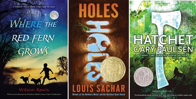 Book covers for Where the Red Fern Grows by Wilson Rawls, HOLES by Louis Sachar, and HATCHET by Gary Paulsen