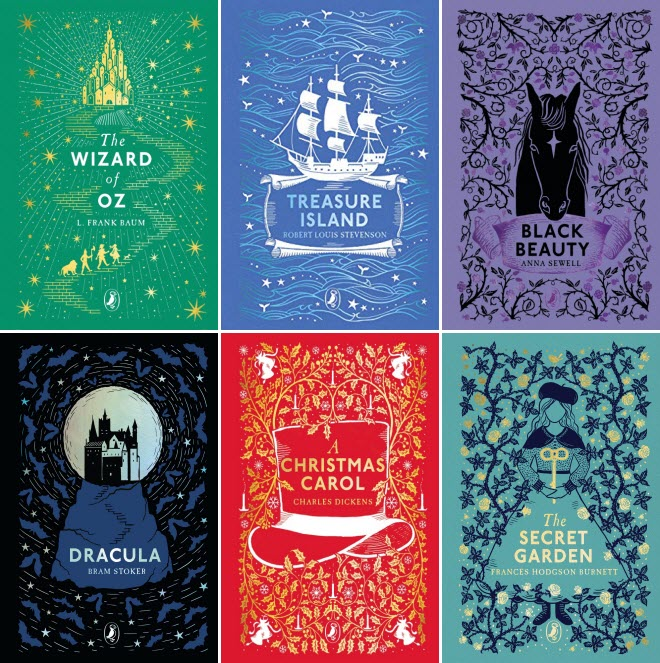 Book covers for The Wizard of Oz by L. Frank Baum; Treasure Island by Robert Louis Stevenson; Black Beauty by Anna Sewell; Dracula by Bram Stoker; A Christmas Carol by Charles Dickens; and The Secret Garden by Frances Hodgson Burnett