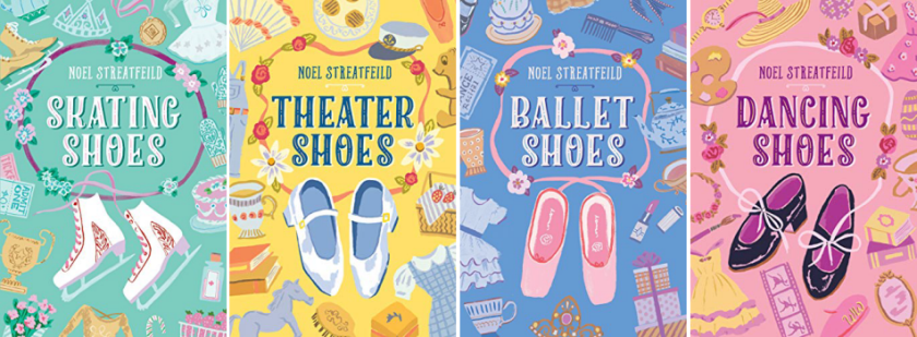 Book covers for Skating Shoes; Theater Shoes; Ballet Shoes; and Dancing Shoes by Noel Streatfeild