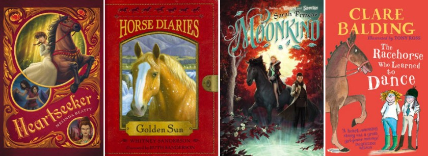 Book covers for Heartseeker by Melinda Beatty; Horse Diaries: Golden Sun by Whitney Sanderson; Moonkind by Sarah Prineas; and The Racehorse Who Learned to Dance by Clare Balding