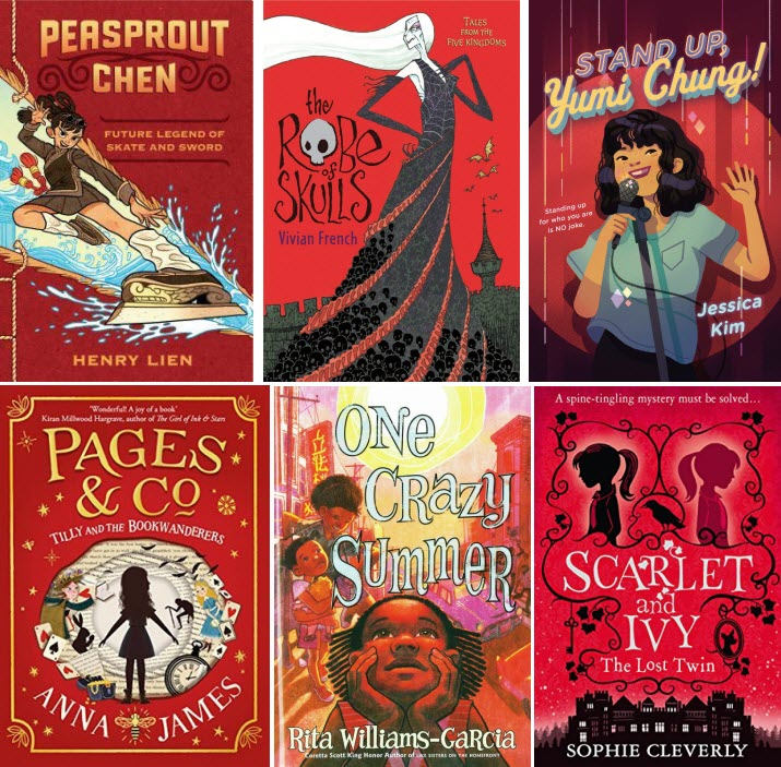 Book covers for Peasprout Chen: Future Legend of Skate and Sword by Henry Lien; The Robe of Skulls by Vivian French; Stand Up, Yumi Chung! by Jessica Kim; Pages & Co: Tilly and the Bookwanderers by Anna James; One Crazy Summer by Rita Williams-Garcia; and Scarlet & Ivy: The Lost Twin by Sophie Cleverly