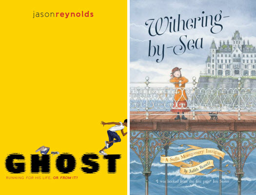 book covers for GHOST by Jason Reynolds and Withering-by-Sea by Judith Rossell