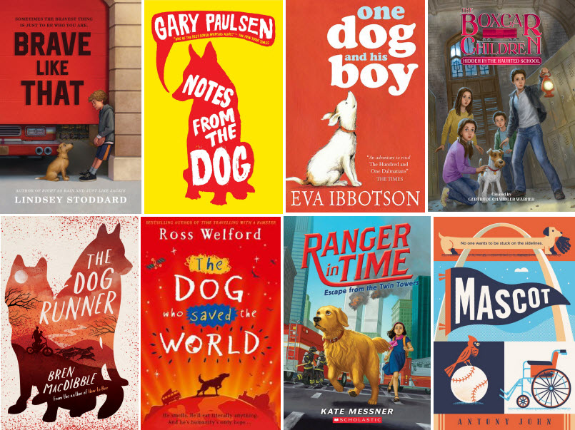 Book covers for Brave Like That by Lindsey Stoddard; Notes From the Dog by Gary Paulsen; One Dog and His Boy by Eva Ibbotson; Hidden in the Haunted School by Gertrude Chandler Warren; The Dog Runner by Bren MacDibble; The Dog Who Saved the World by Ross Welcord; Escape from the Twin Towers by Kate Messner; and Mascot by Antony John