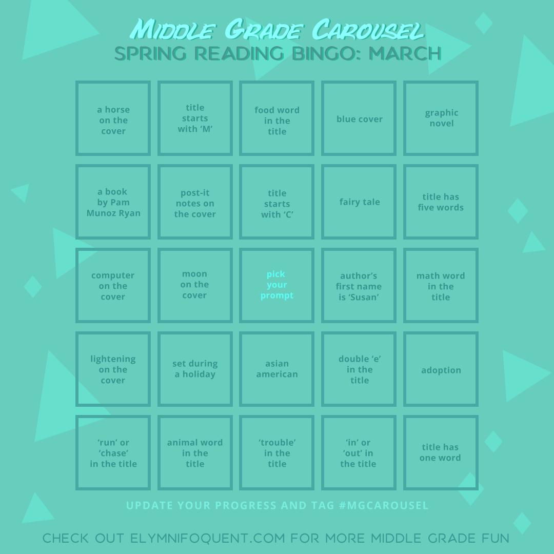Spring Reading Bingo board for March