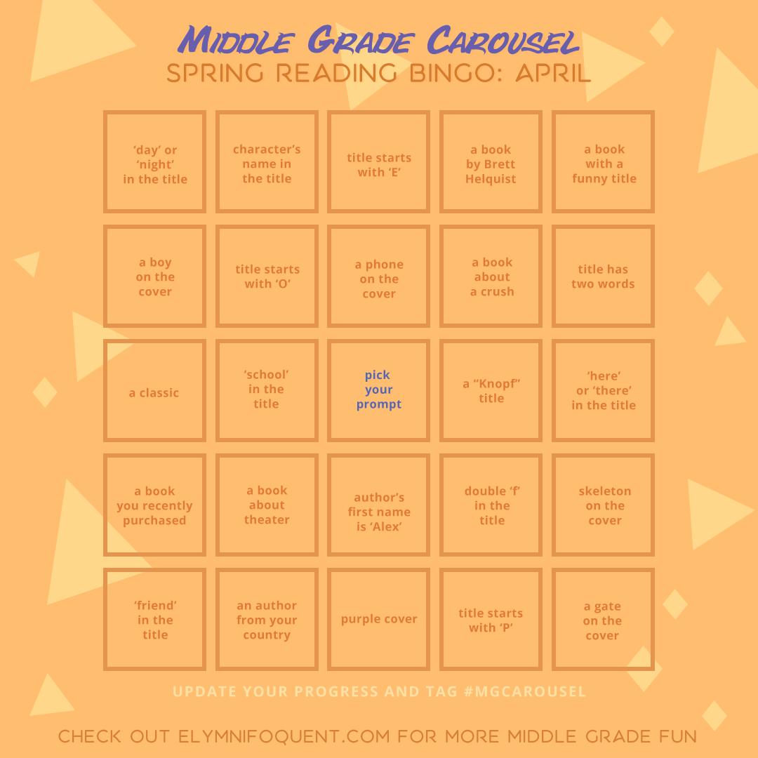 Spring Reading Bingo board for April