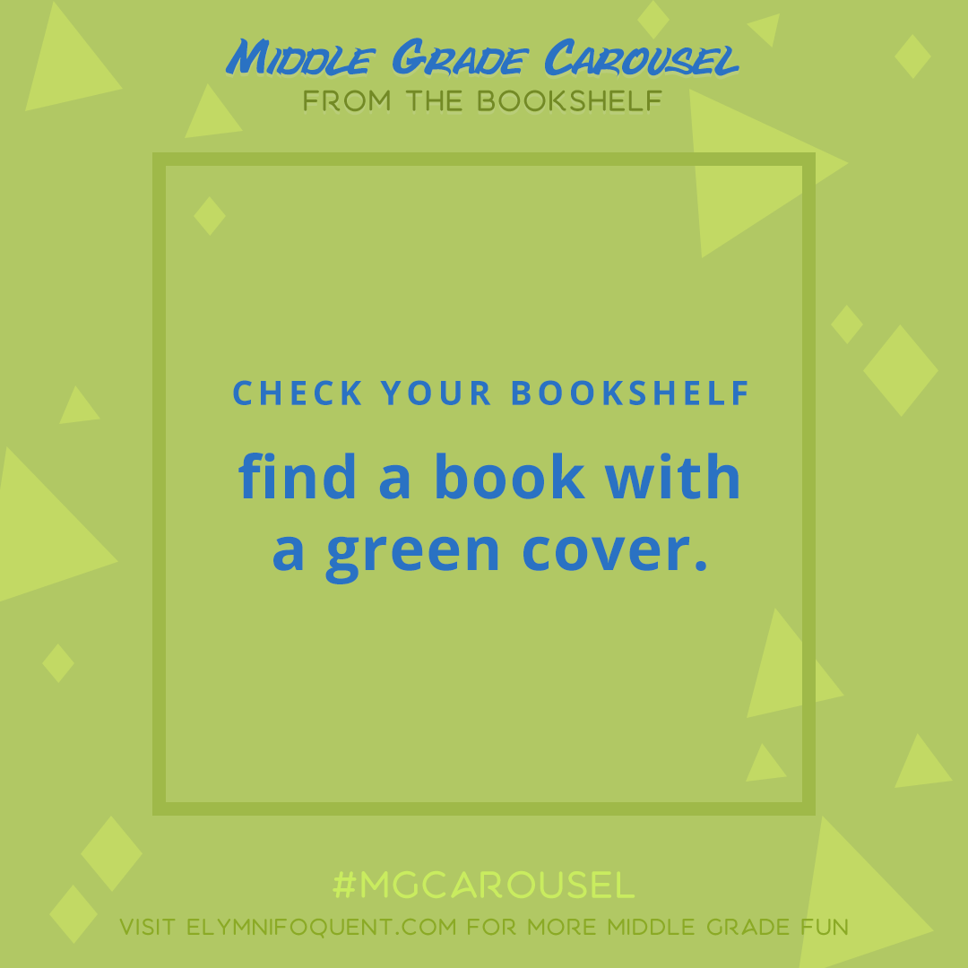 From the Bookshelf: find a book with a green cover.