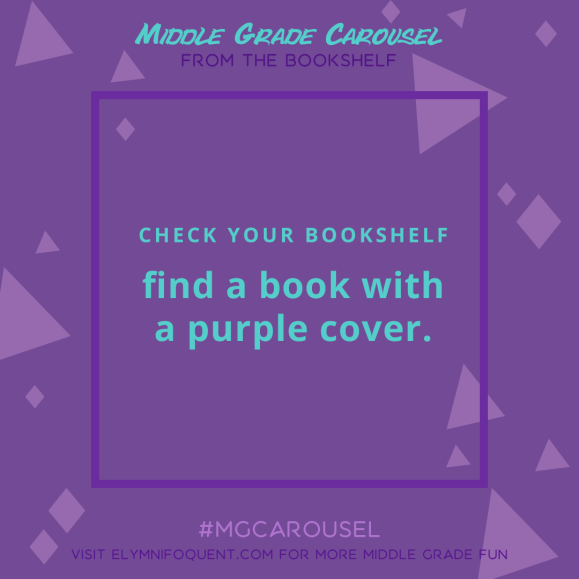 From the Bookshelf: find a book with a purple cover.