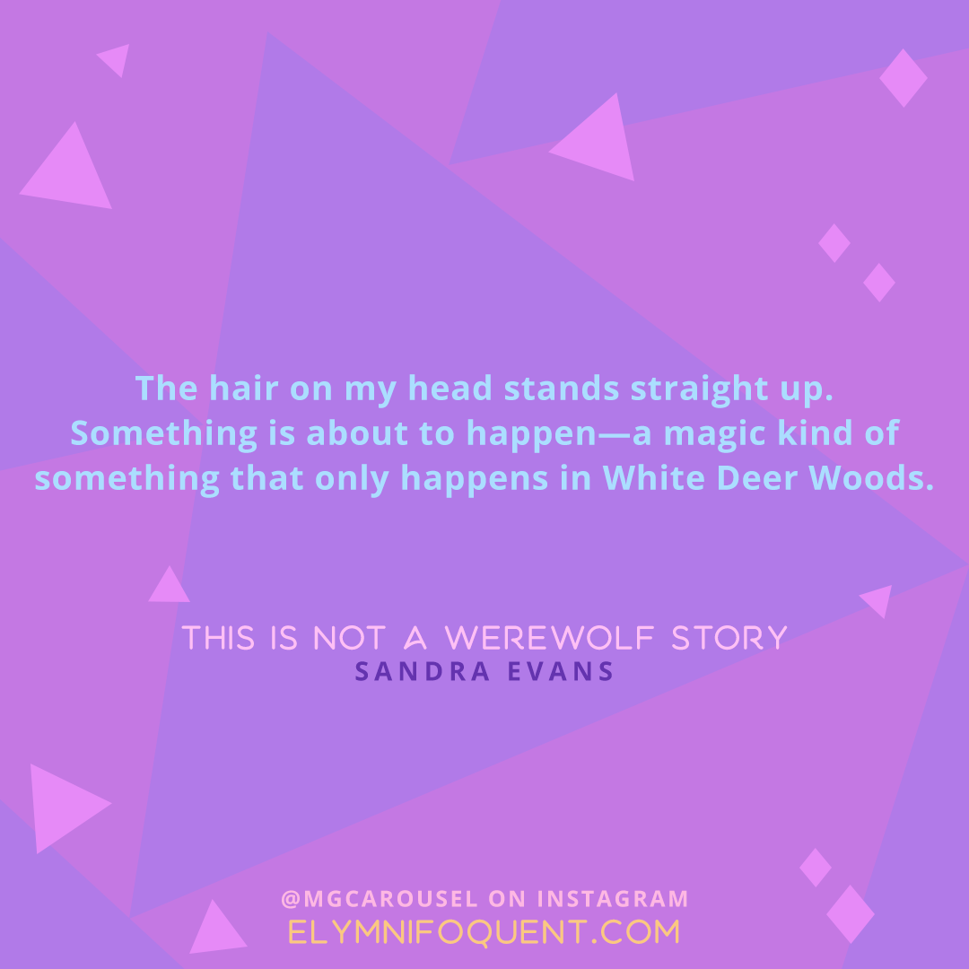 """The hair on my head stands straight up. Something is about to happen--a magic kind of something that only happens in White Deer Woods."" -This is Not a Werewolf Story by Sandra Evans"