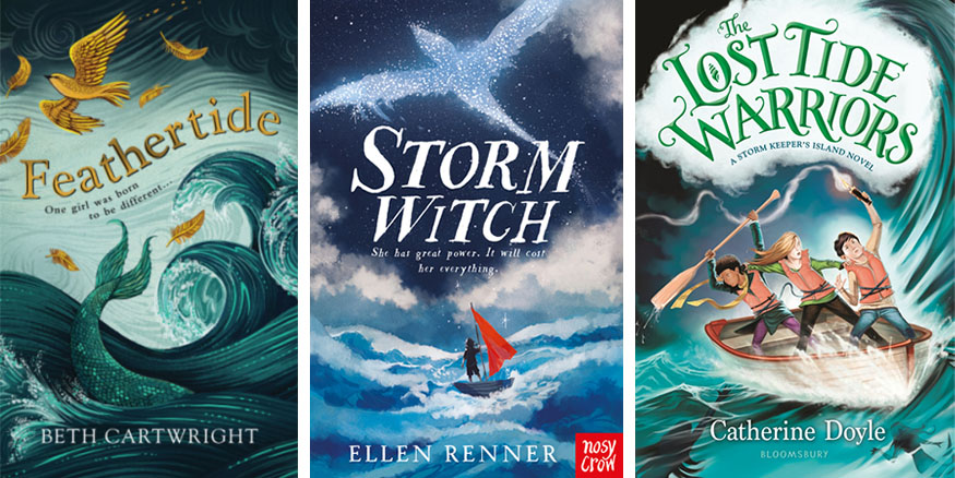 Book covers for Feathertide by Beth Cartwright; Storm Witch by  Ellen Renner; and The Lost Tide Warriors by Catherine Doyle