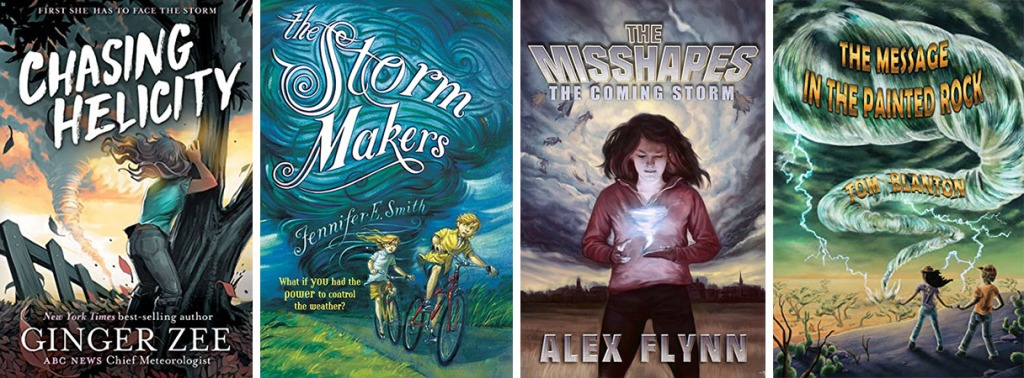 Book covers for Chasing Helicity by Ginger Zee; The Storm Makers by Jennifer E. Smith; The Misshapes: The Coming Storm by Alex Flynn; and The Message in the Painted Rock by Tom Blanton