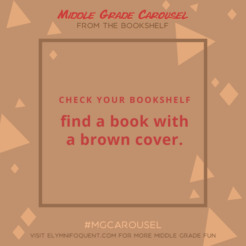 From the Bookshelf: find a book with a brown cover.