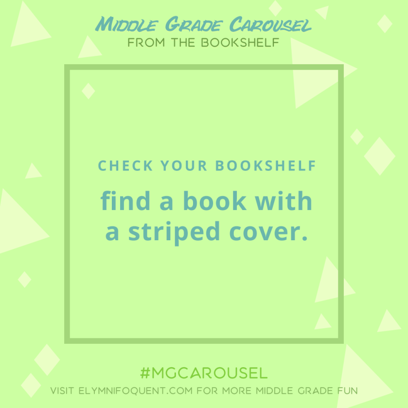 From the Bookshelf: find a book with a striped cover.