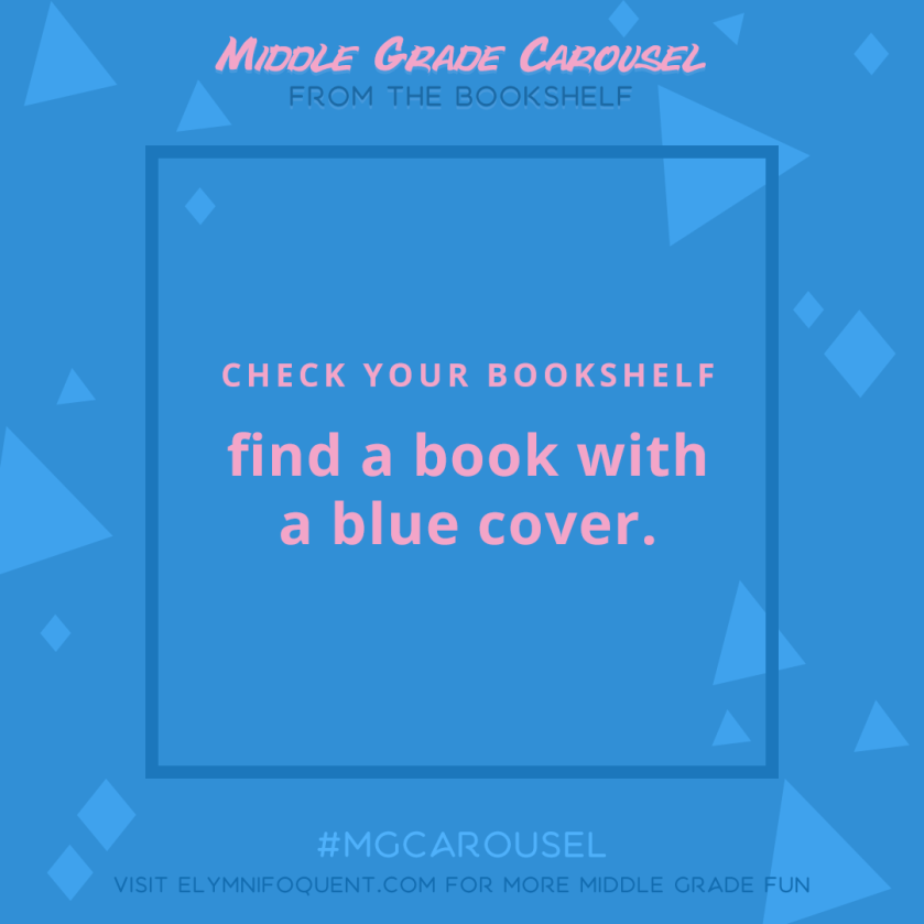From the Bookshelf: find a book with a blue cover.