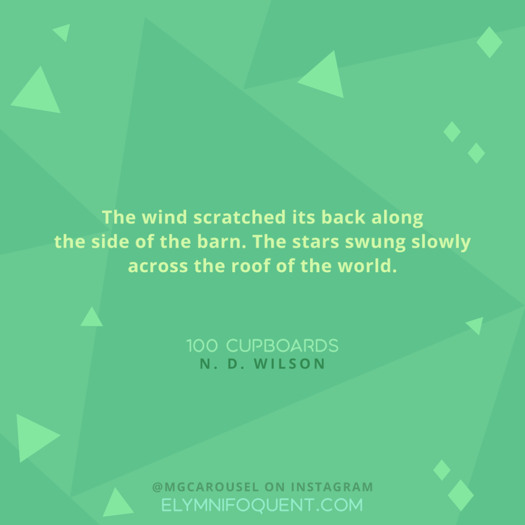 """The wind scratched its back along the side of the barn. The stars swung slowly across the roof of the world."" -100 Cupboards by N. D. Wilson"