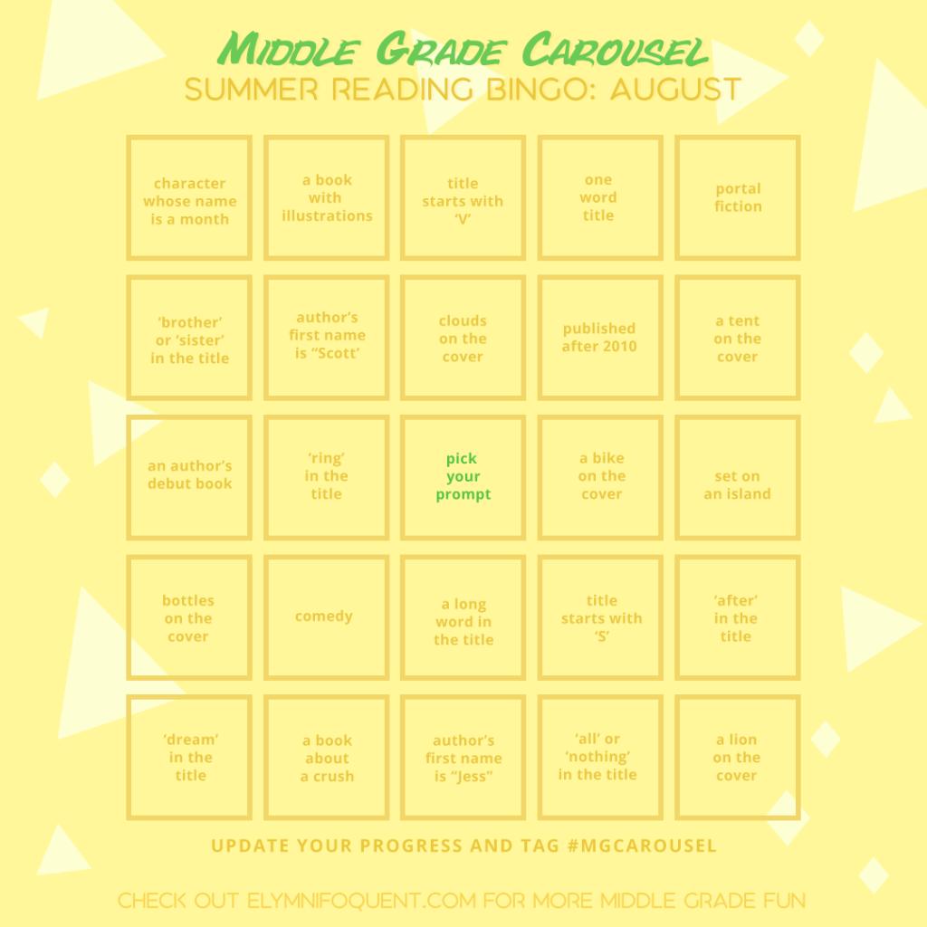 Summer Reading Bingo Board for August 2020