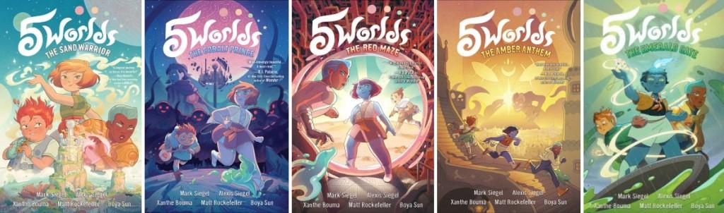 Book covers for the 5 Worlds graphic novel series created by Mark Siegel, Alexis Siegel, Xanthe Bouma, Matt Rockefeller, and Boya Sun