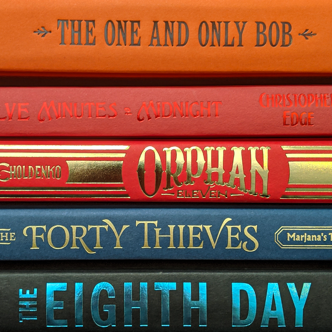 Bookstagram photo featuring The One and Only Bob by Katherine Applegate; Twelve Minutes to Midnight by Christopher Edge; Orphan Eleven by Gennifer Choldenko; The Forty Thieves: Marjana's Tale by Christy Lenzi; and The Eighth Day by Dianne K Salerni