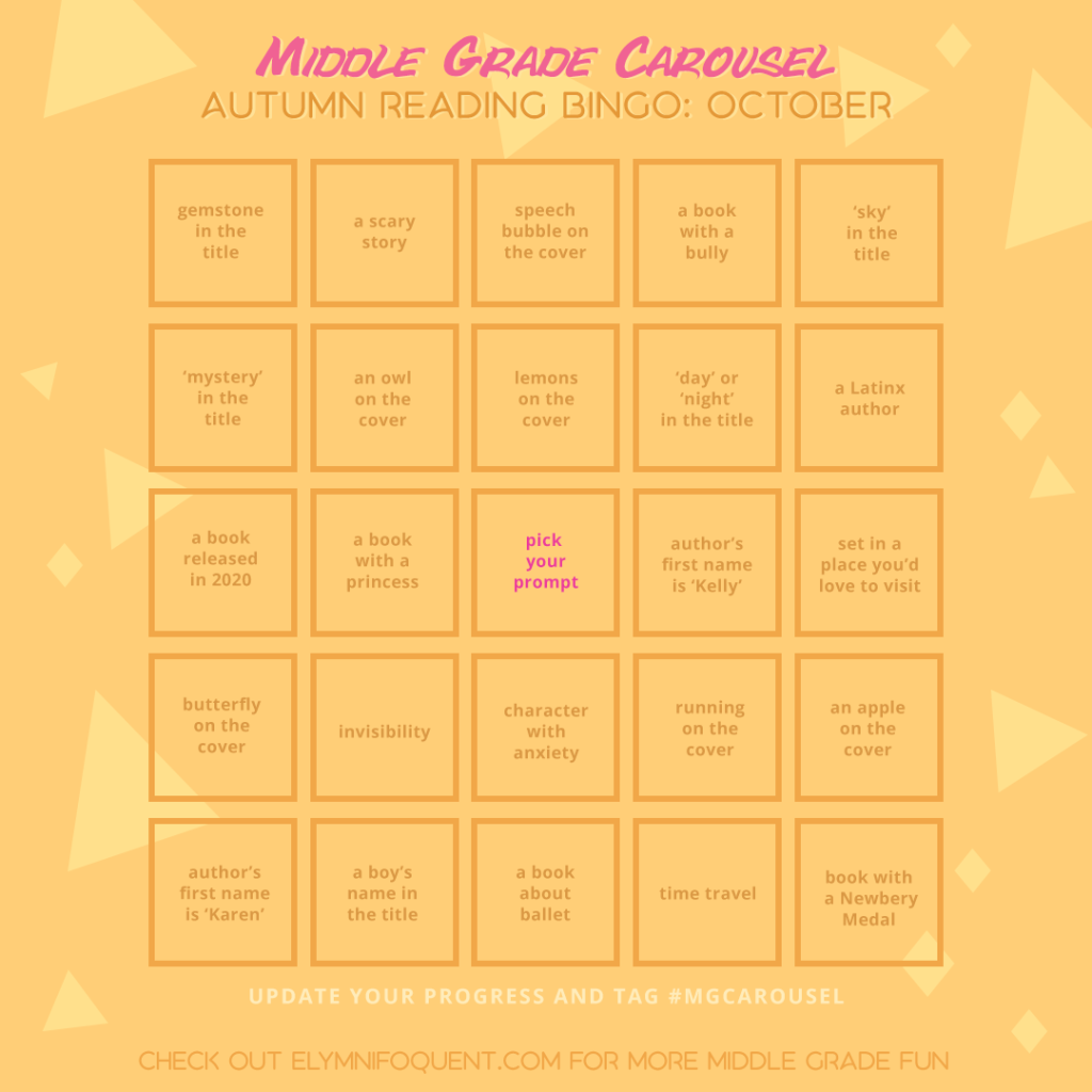 Autumn Reading Bingo card for October at Middle Grade Carousel