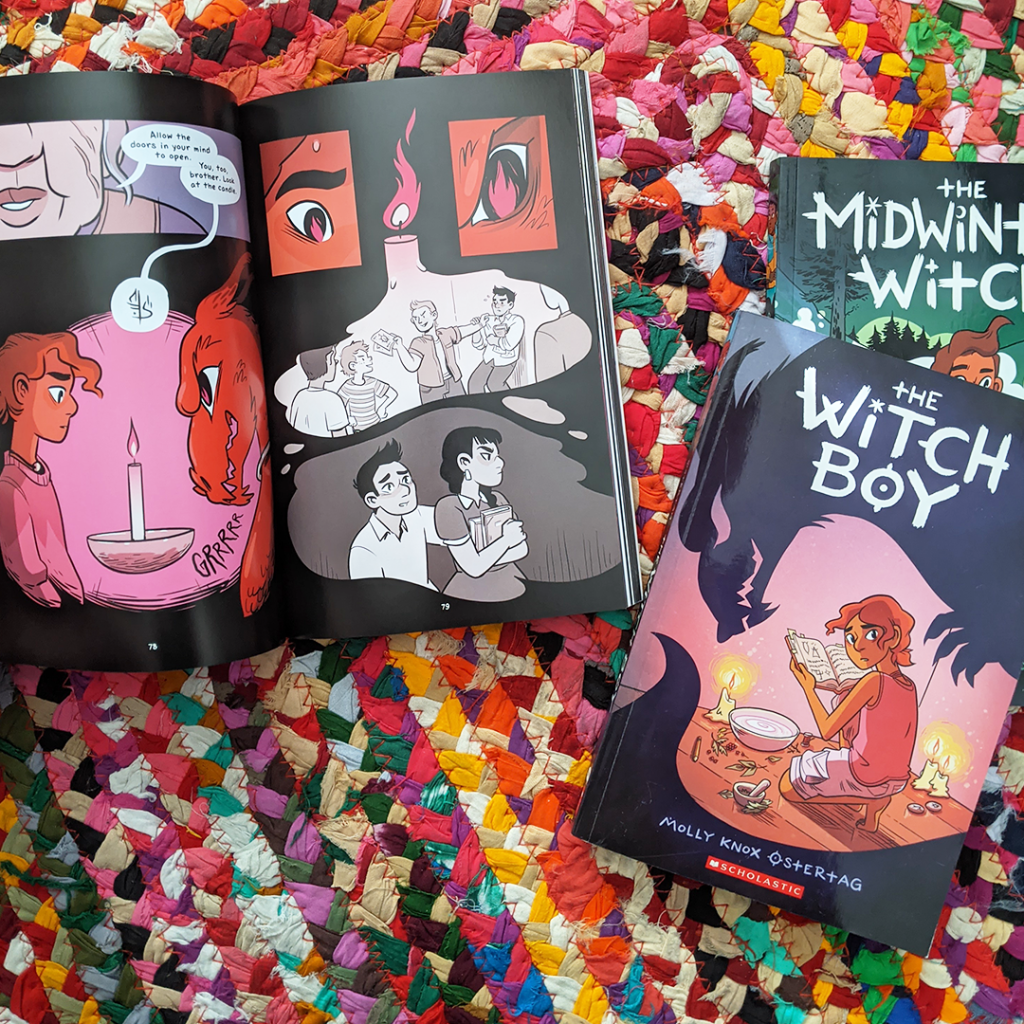 Bookstagram photo features the Witch Boy graphic novel series by Molly Knox Ostertag